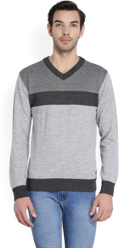 Raymond Self Design V-neck Casual Men Grey Sweater