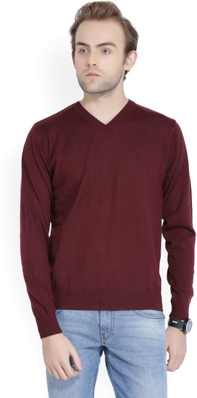 Raymond Solid V-neck Formal Men Maroon Sweater