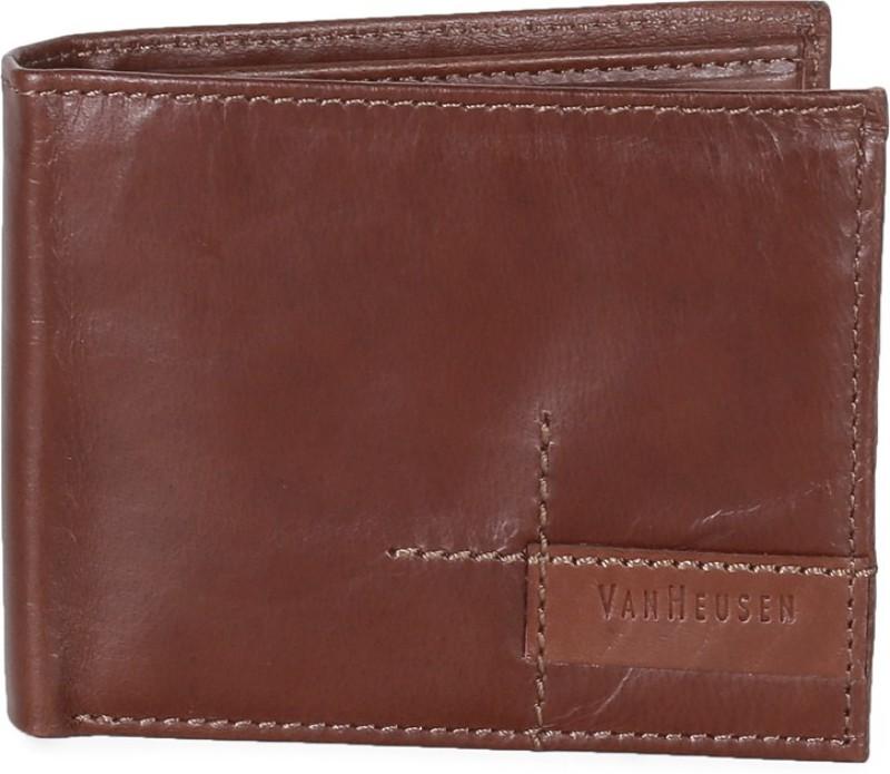 Van Heusen Men Brown Genuine Leather Wallet(8 Card Slots)