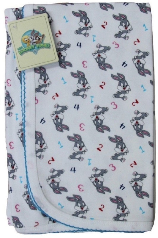 Cradle Togs Cotton Crib, Single Cartoon Bedsheet(1 Wrapping Sheet, White, Turquoise)