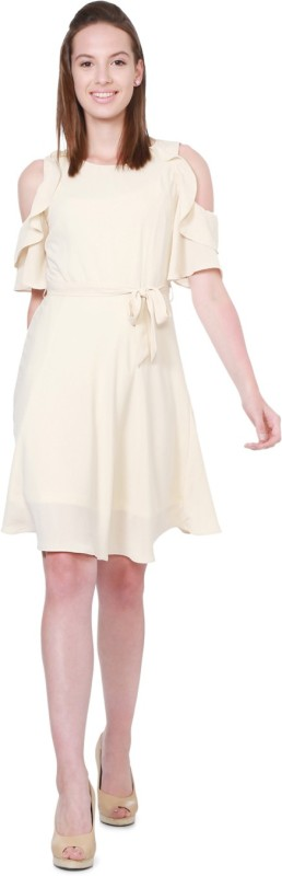 Allen Solly Women A-line Beige Dress
