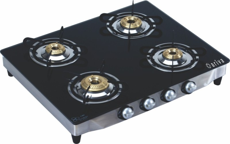 Ariva Glass, Stainless Steel Manual Gas Stove(4 Burners)