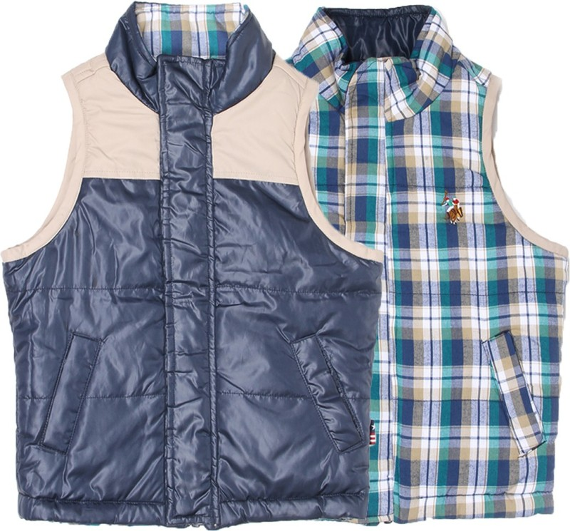 US Polo Kids Sleeveless Checkered Boys Jacket