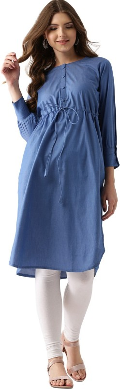 Libas Solid Women's Pathani Kurta(Blue)