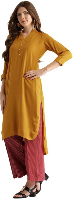 Libas Solid Women's Pathani Kurta(Yellow)