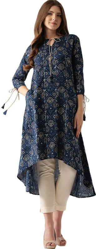 Libas Colorblock Women's A-line Kurta(Blue)