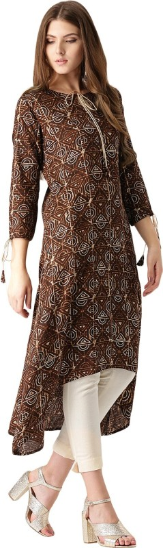 Libas Colorblock Women's A-line Kurta(Brown)