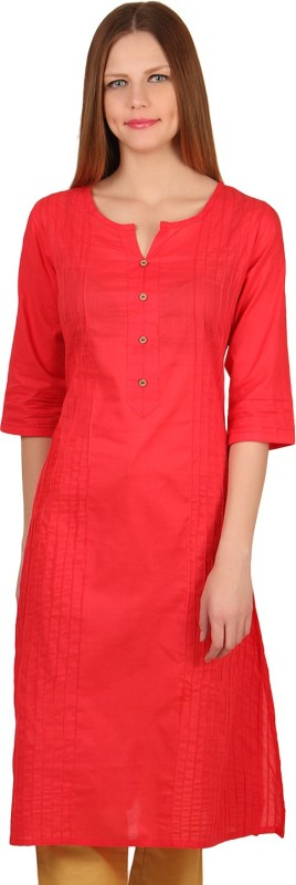 Mother Home Casual Solid Women Kurti(Red)