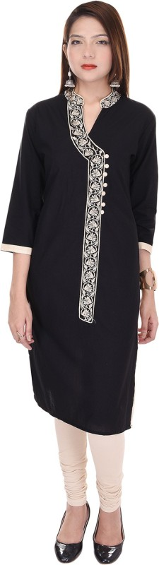 Mahaveer Fashion Wedding Embroidered Women Kurti(Black)