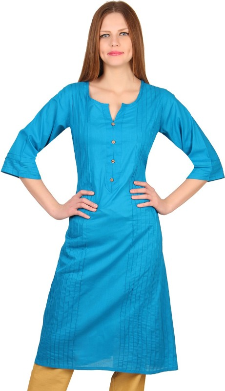 Mother Home Casual Solid Women Kurti(Blue)