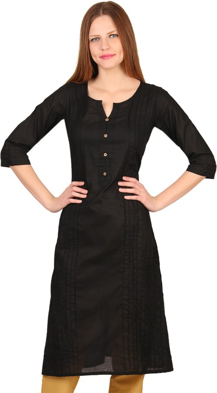 Mother Home Casual Solid Women Kurti(Black)
