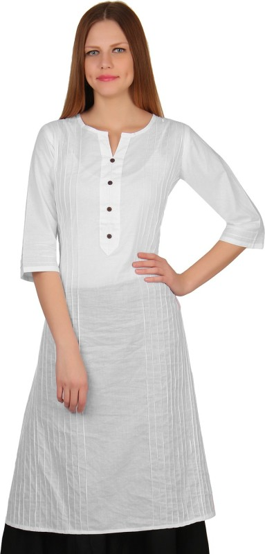 Mother Home Casual Solid Women Kurti(White)