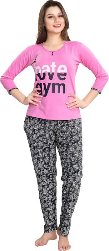 AV2 Women Printed Pink Top & Pyjama Set