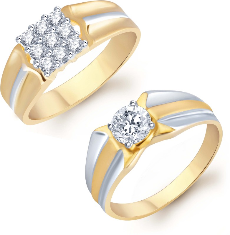 Sukkhi Sukkhi Blossomy 2 Piece Ring Combo for Men Alloy Cubic Zirconia Gold-plated Plated Ring