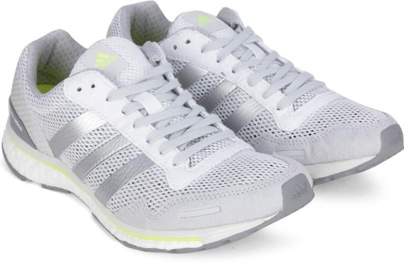 Adidas ADIZERO ADIOS W Running Shoes For Women(White, Silver)