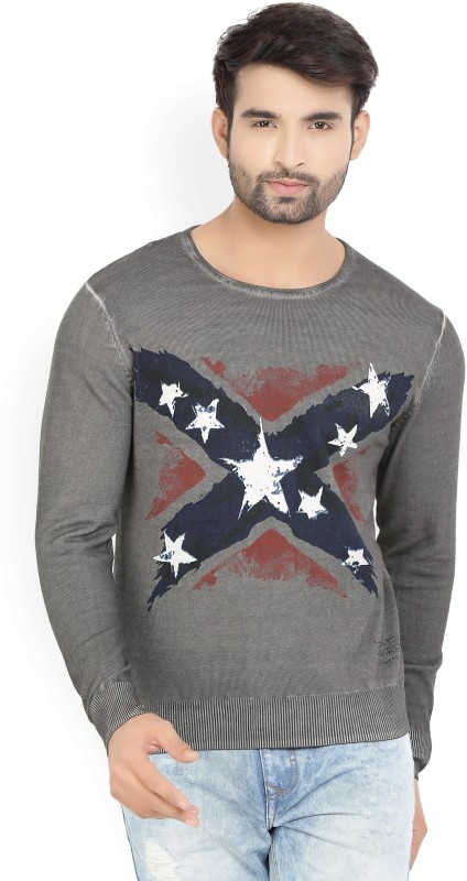 Ed Hardy Printed Round Neck Casual Men Grey Sweater