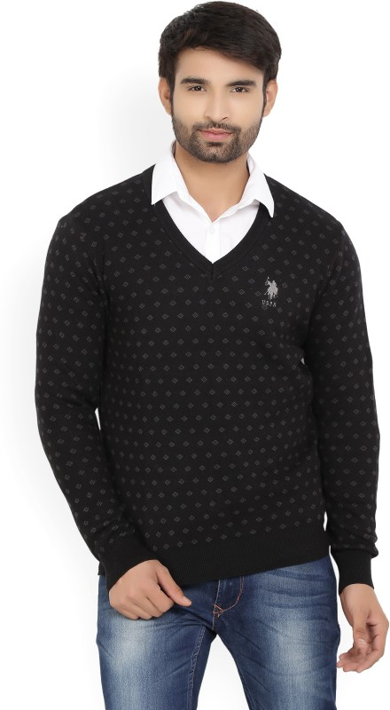 U.S. Polo Assn Self Design V-neck Casual Mens Black Sweater