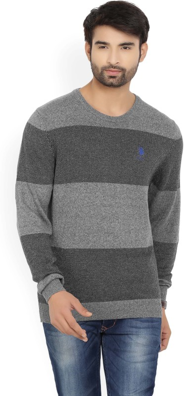 U.S. Polo Assn Striped Round Neck Casual Mens Black, Grey Sweater