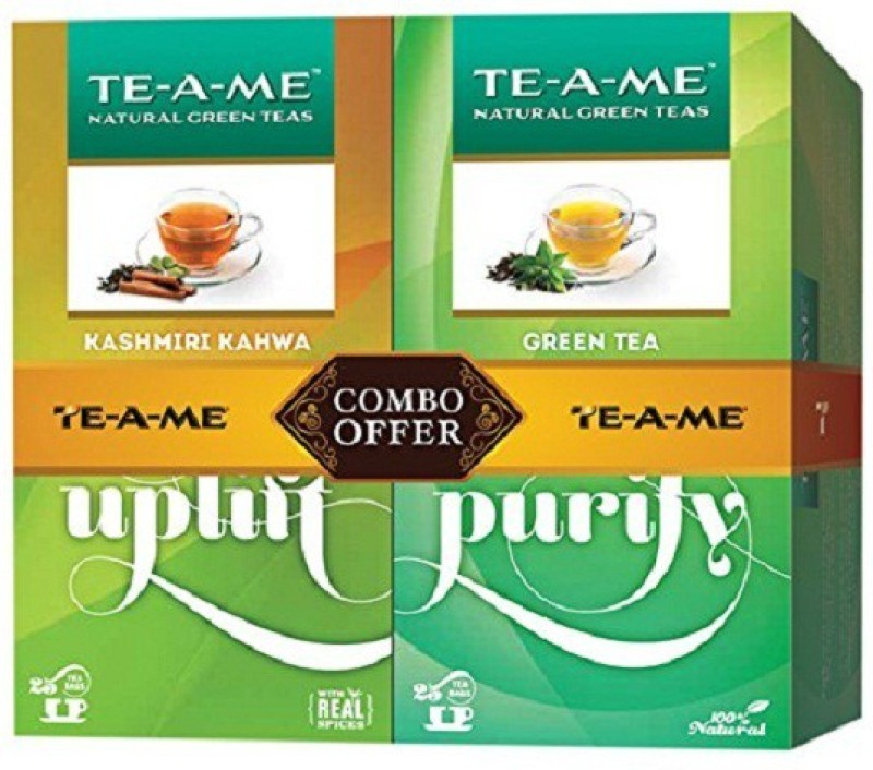 TE-A-ME Kashmiri Kahwa Green Tea, Natural Green Tea Unflavoured Green Tea Bags(50 Bags, Box)