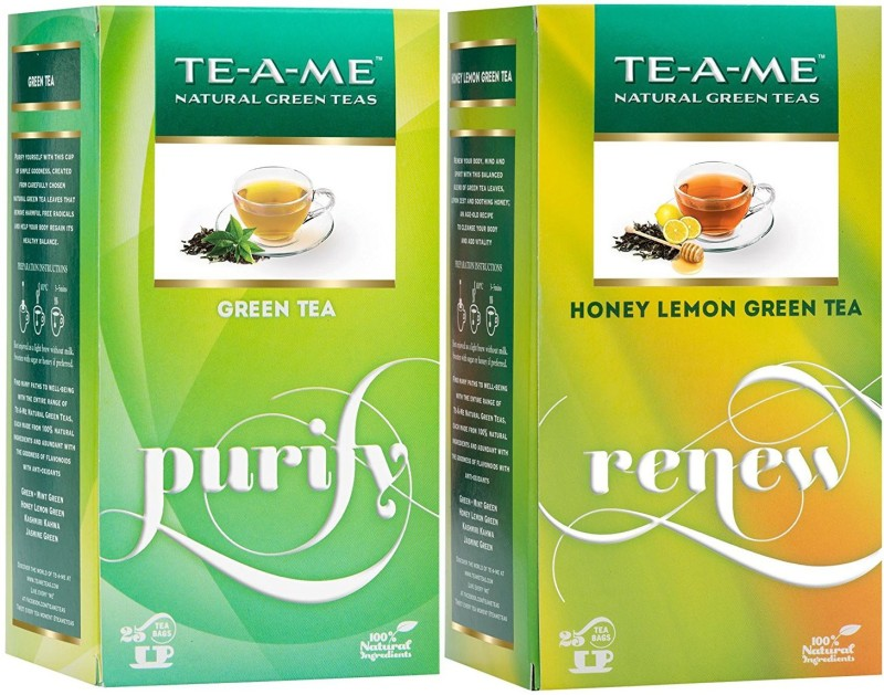 TE-A-ME Honey Lemon Tea & Natural Green Tea Combo Honey, Lemon Green Tea Bags(50 Bags, Box)