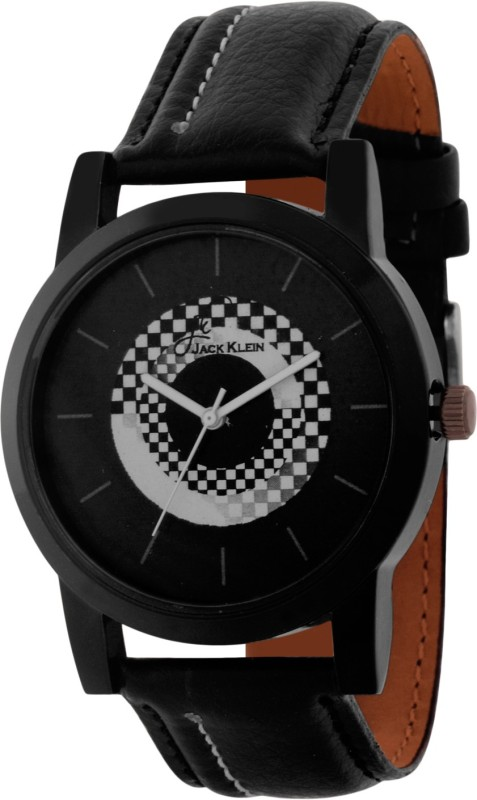 Jack Klein Stylish Round Black Dial pu strap Watch  - For Boys