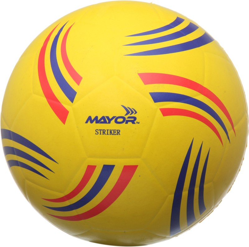 Mayor Striker Football - Size: 5(Pack of 1, Yellow, Blue)