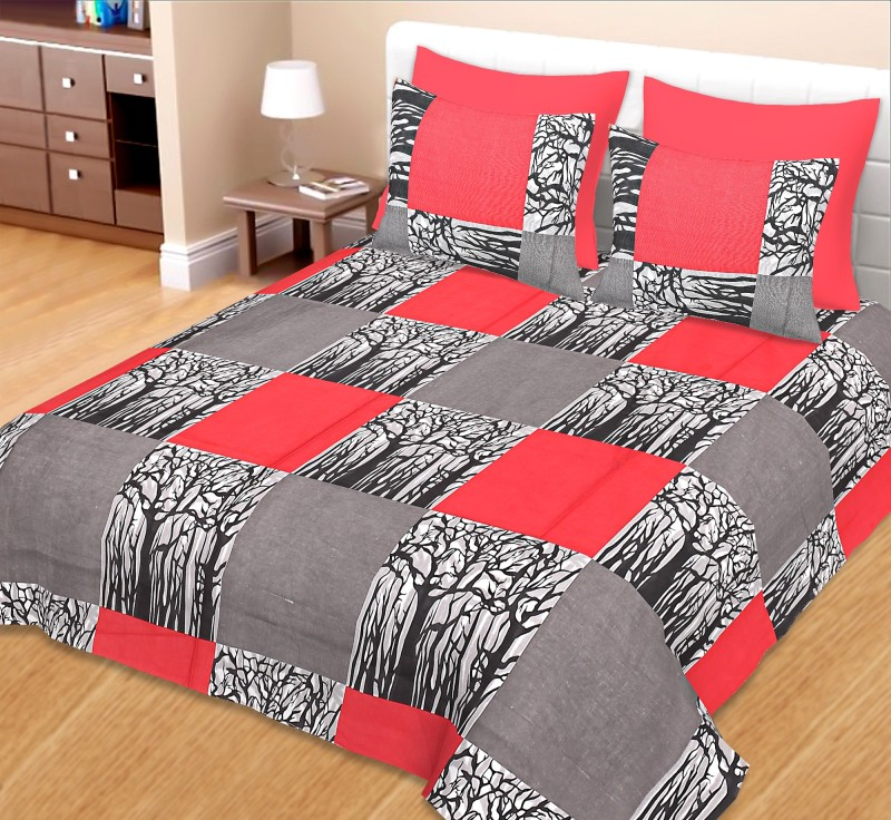AVIGHNA Cotton Double King Printed Bedsheet(Pack of 1, Grey Red)