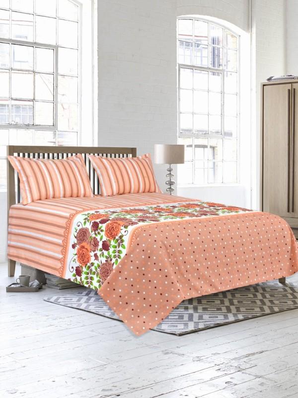 Salona Bichona 104 TC Cotton Double King Floral Bedsheet(1 King Size Bedsheet, 2 Pillow covers, Brown)