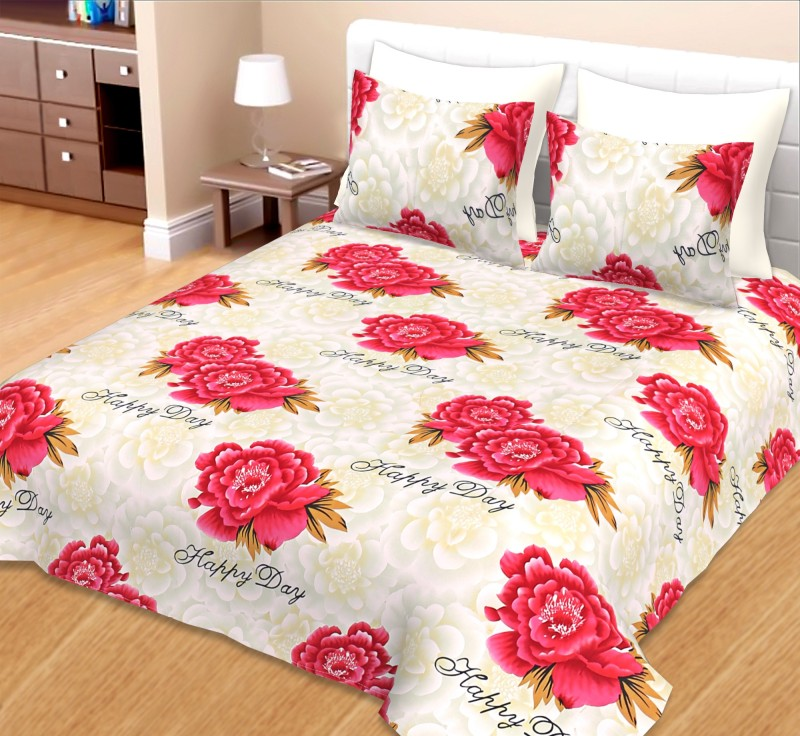 AVIGHNA Cotton Double King Printed Bedsheet(Pack of 1, Red)