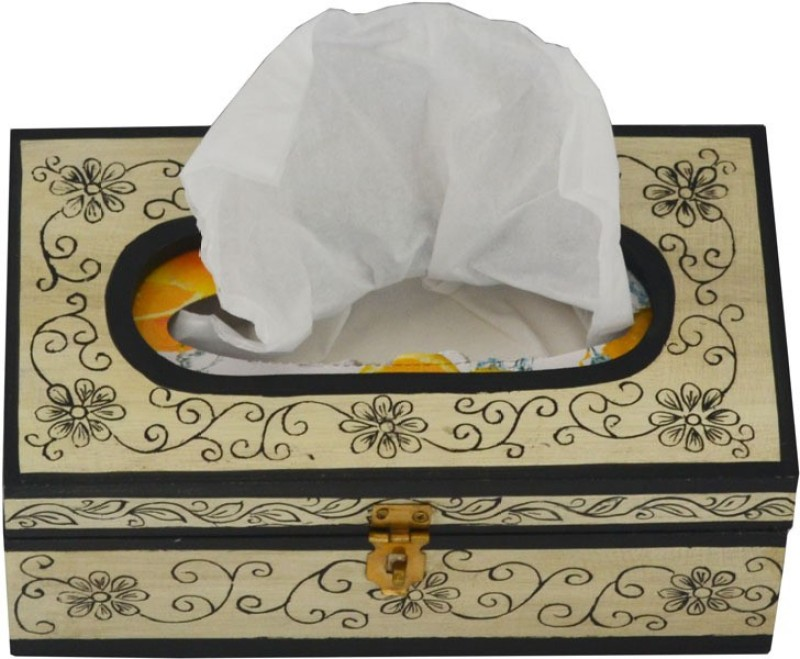 Artlivo Embossed 1 Compartments Wood Tissue Paper Holder(Yellow)