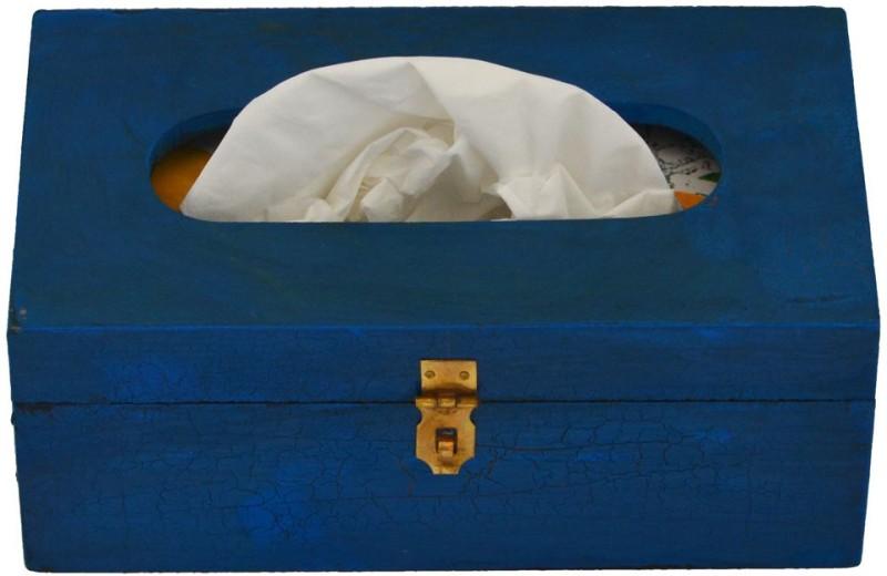 Artlivo Popart 1 Compartments Wood Tissue Paper Holder(Blue)