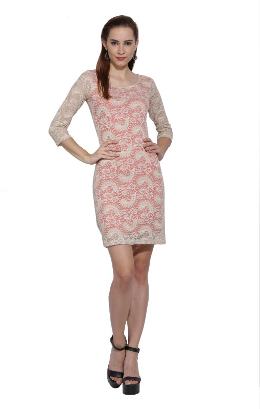 AND Womens Bodycon Beige Dress