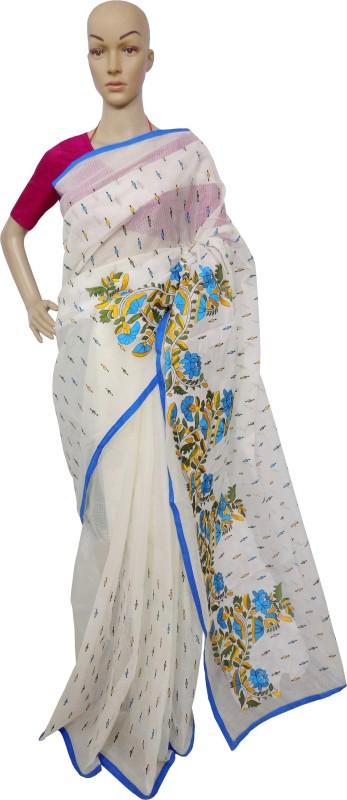 KheyaliBoutique Embroidered Fashion Kota Cotton Saree(White)