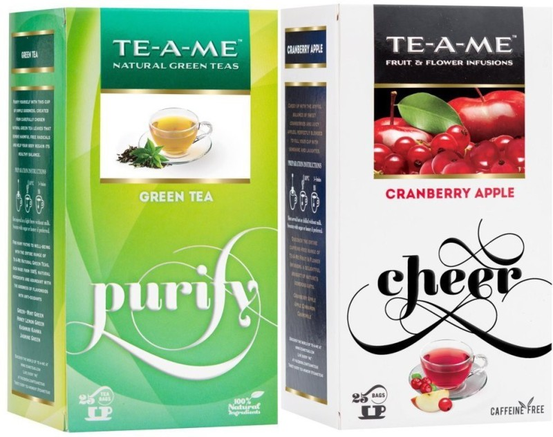 TE-A-ME Fresh Green Tea & Cranberry apple Tea Combo Cranberry, Apple Green Tea Bags(50 Bags, Box)
