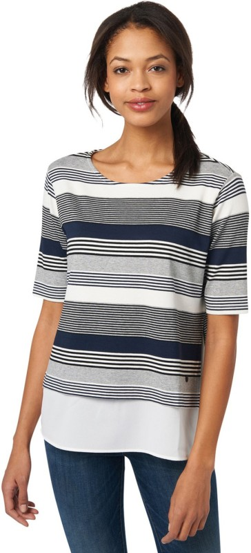 Tom Tailor Casual Half Sleeve Striped Women's Grey Top