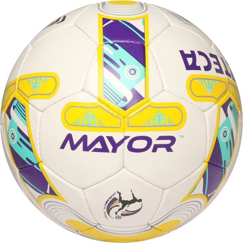 Mayor Azteca Football - Size: 5(Pack of 1, White, Yellow, Purple)