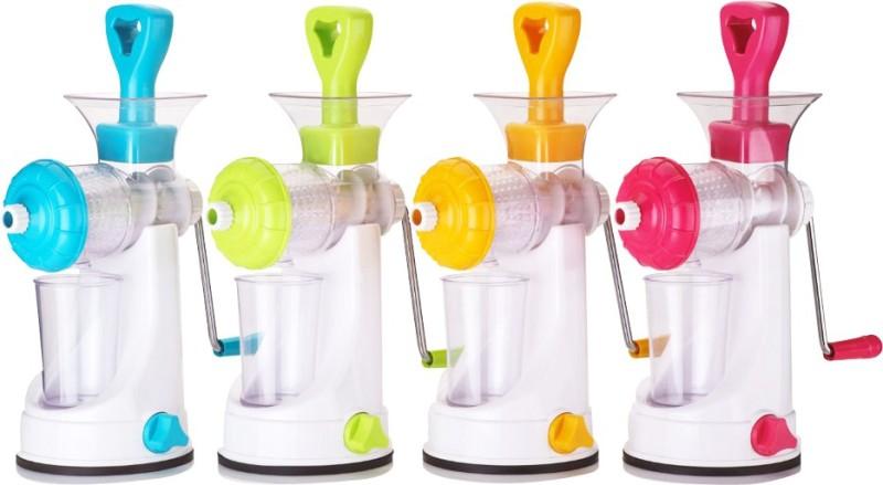 Vencho Kitchenware Fruit & Vegetable Premium Manual Hand Juicer With Steel Handle Plastic Hand Juicer(Multicolor Pack of 4)