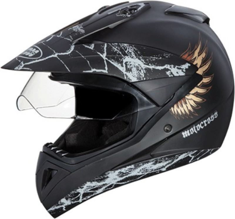 Studds Motocross D4 Decor Motorsports Helmet(Matt Black)