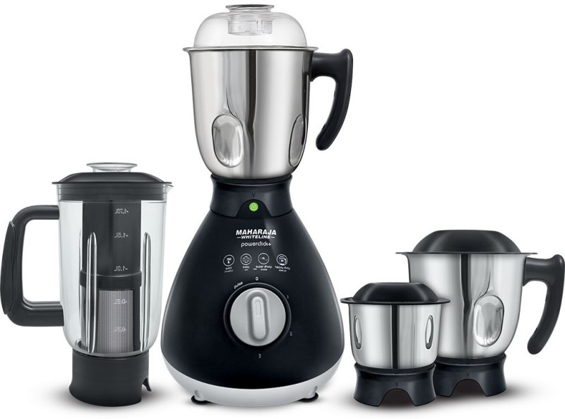 Maharaja Whiteline POWERCLICK + 750 W Mixer Grinder(Black, 4 Jars)