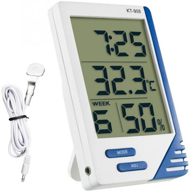 BalRama Kt-908 Digital Hygrometer Electronic Thermo Hygro Large Big Screen Indoor Outdoor Temperature Meter LCD Display Humidity Tester Meter Tester Tool Temperature Alarm Clock Time with External Probe Sensor Pin-Type Digital Moisture Measurer(5 mm)