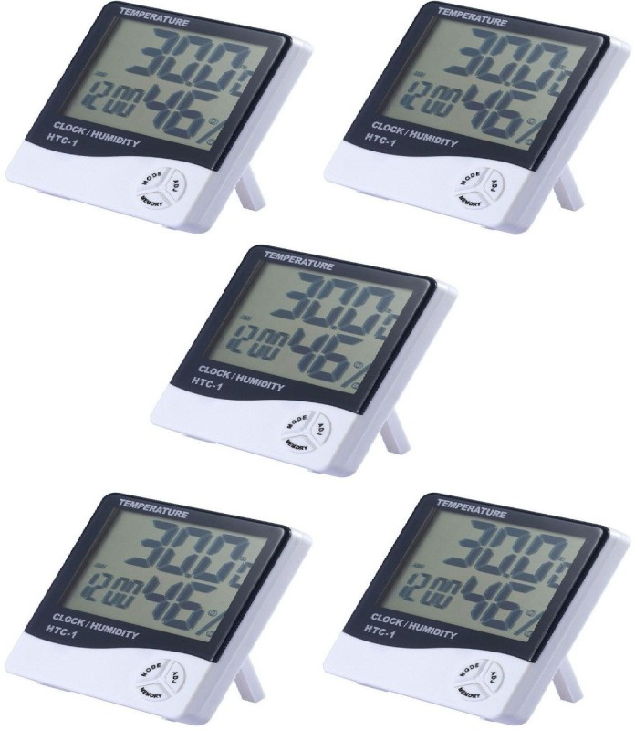 BalRama Hygrometer Electronic Thermo Hygro Humidity Meter Tester + Temperature Meter + Alarm Clock + Time with Pinless Digital Moisture Measurer(5 mm)