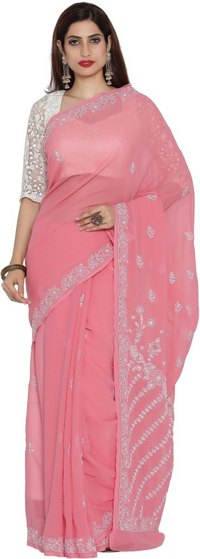 Ada Embroidered Lucknow Chikankari Handloom Faux Georgette Saree(Pink)