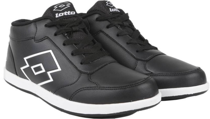 Lotto LOGO PLUS MID Running Shoes For Men(Black, White)