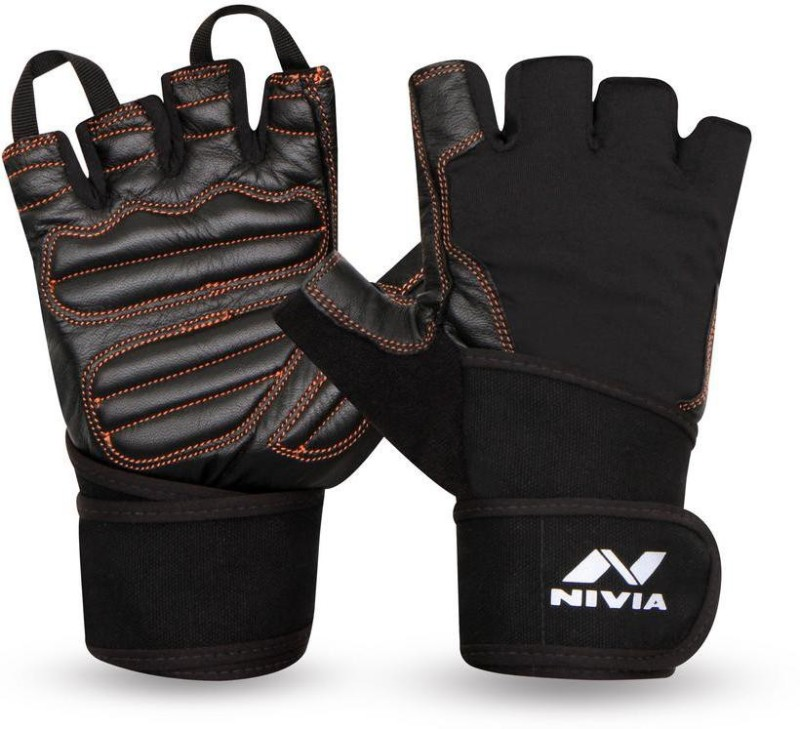 Nivia Cobra with Strap Gym & Fitness Gloves (M, Black)