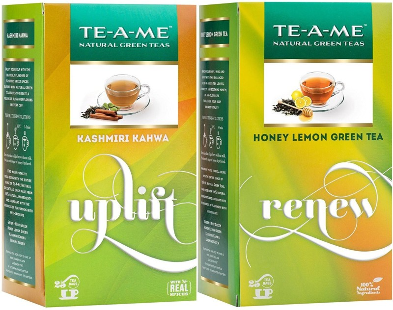 TE-A-ME Honey Lemon Tea & Kashmiri Kahwa Tea Combo Honey, Lemon Green Tea Bags(50 Bags, Box)