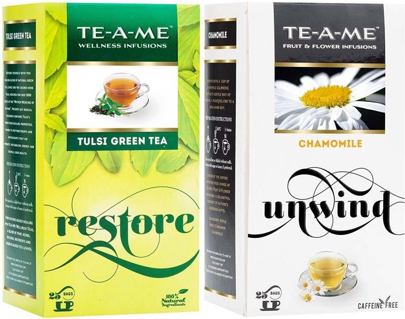 TE-A-ME Tulsi Green Tea & Chamomile Tea Combo Chamomile Green Tea Bags(50 Bags, Box)