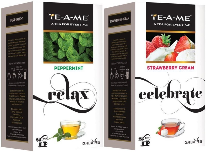 TE-A-ME Strawberry Cream Infusion Tea & Peppermint Infusion Tea ComboAssam Strawberry, Peppermint Green Tea Bags(50 Bags, Box)