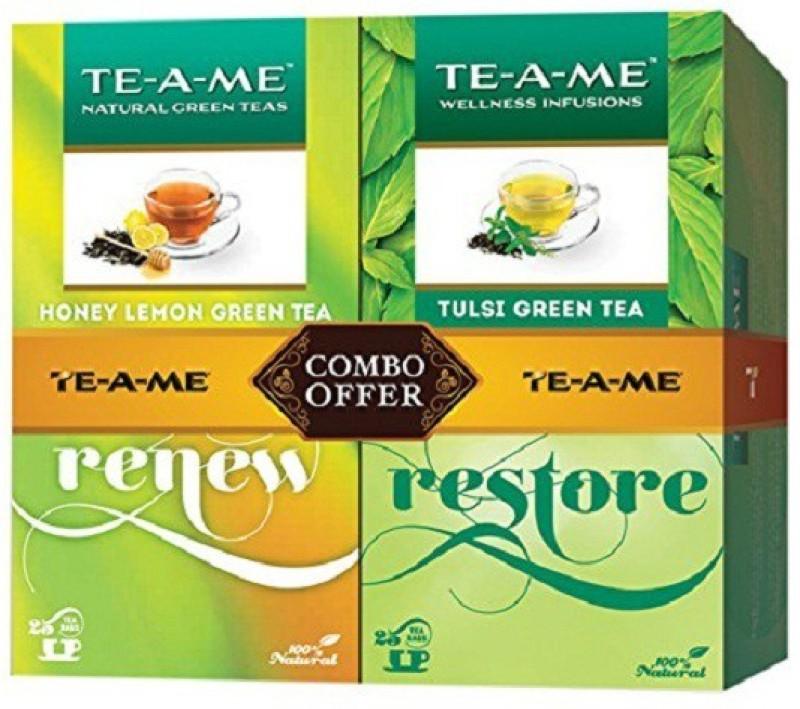 TE-A-ME Natural Tulsi Green Tea +Honey Lemon Green Tea Honey, Lemon, Tulsi Green Tea Bags(50 Bags, Box)