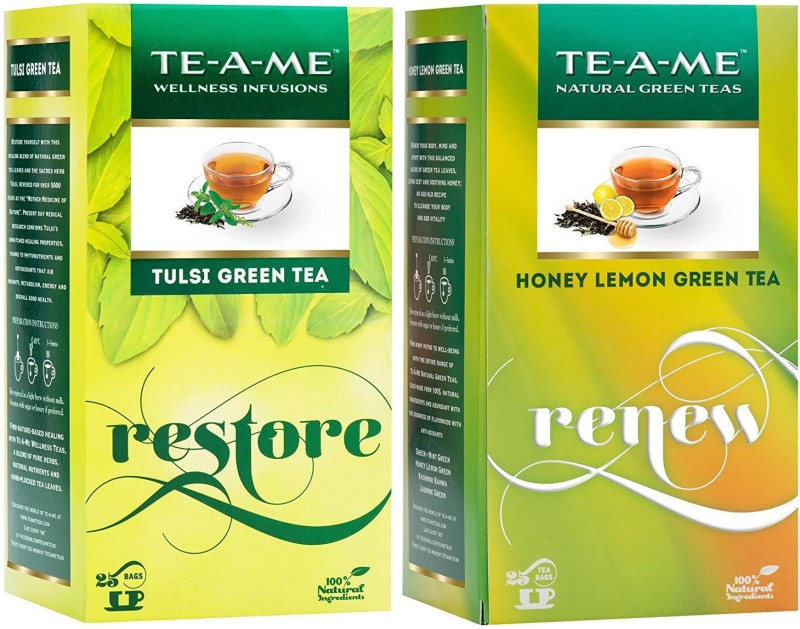 TE-A-ME Honey Lemon Tea & Tulsi Green Tea Combo Honey, Lemon, Tulsi Green Tea Bags(50 Bags, Box)