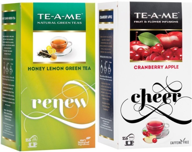 TE-A-ME Honey Lemon Green Tea & Cranberry Apple Tea Combo Honey, Lemon, Cranberry, Apple Green Tea Bags(50 Bags, Box)